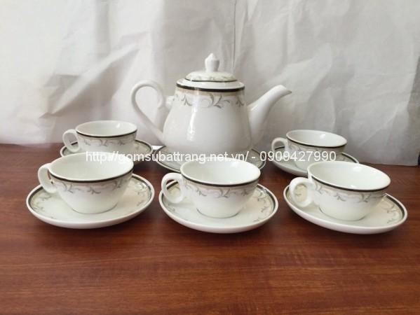 Bộ trà sứ trắng cao cấp Bát tràng 01