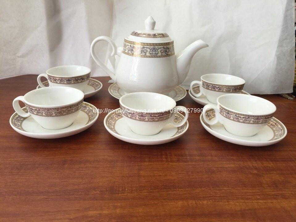 Bộ trà sứ trắng cao cấp Bát Tràng02