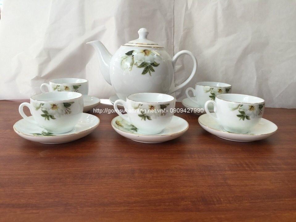 Bộ trà sứ trắng Bát Tràng 09