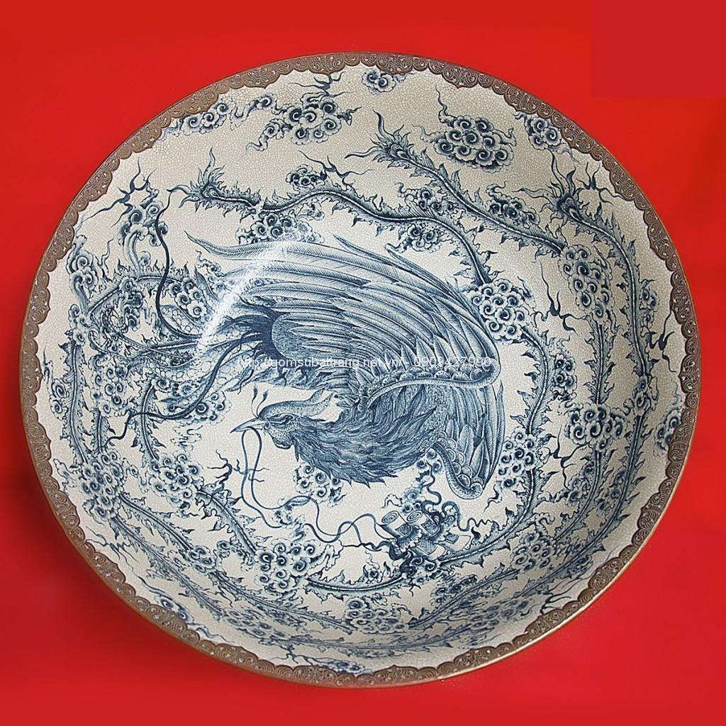 Bát vẽ trong Phượng ngoài Tứ Linh men rạn đường kính 70cm cao 27cm (2)