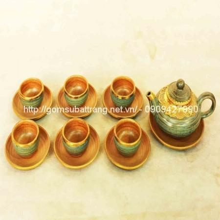 Bộ trà chóp men da lươn bọc đồng