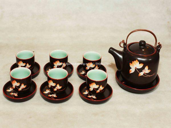 Bộ ấm trà gốm vẽ hoa sen dáng Tống