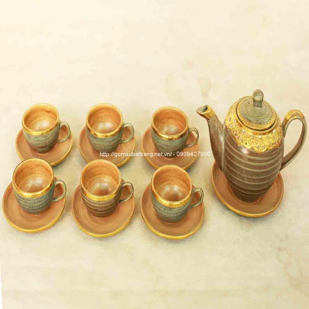 Bộ trà Tống da lươn bọc đồng
