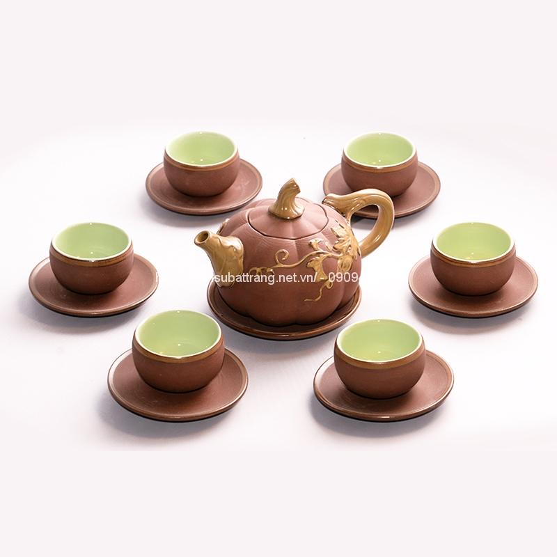 Bộ trà đất gốm bí vàng 2