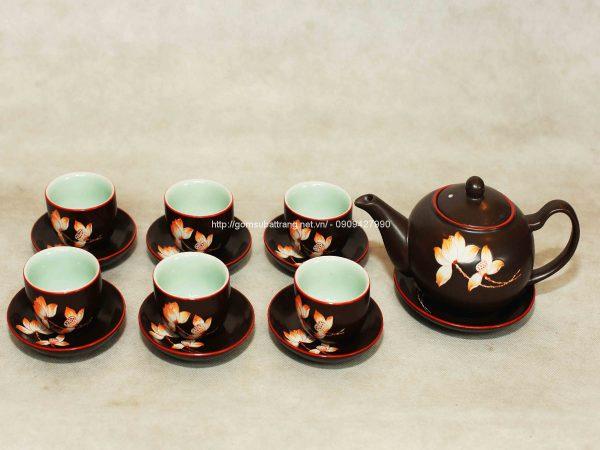 bộ ấm trà gốm vẽ hoa mai dáng Tống