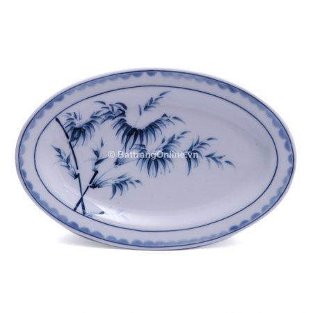 Đĩa bầu dục đựng đồ ăn bát tràng vẽ Trúc – dài 30 cm – rộng 20 cm – men chàm