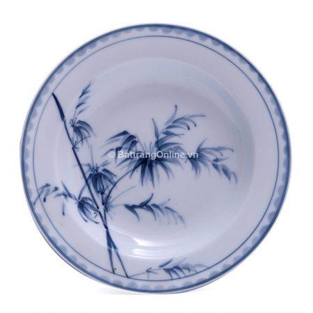 Đĩa đựng đồ ăn bát tràng vẽ Trúc – men chàm – dáng đĩa sâu lòng – đường kính 20 cm