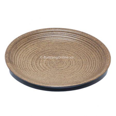 Đĩa tròn sứ Bát Tràng, đường kính 21.5cm, cao 3.3cm