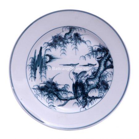 Đĩa đựng đồ ăn sứ Bát Tràng vẽ Tùng Hạc – men chàm – đường kính 22 cm