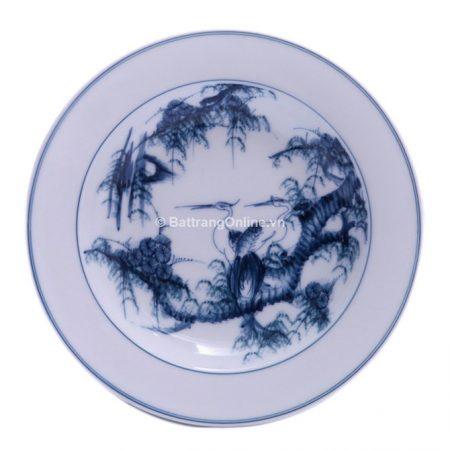 Đĩa đựng đồ ăn sứ Bát Tràng vẽ Tùng Hạc – men chàm – đường kính 20 cm