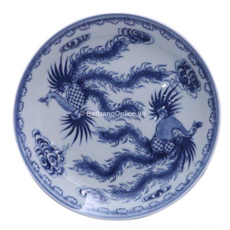 Đĩa đựng đồ ăn sứ bát tràng vẽ Phượng – men lam cổ – đường kính 14 cm