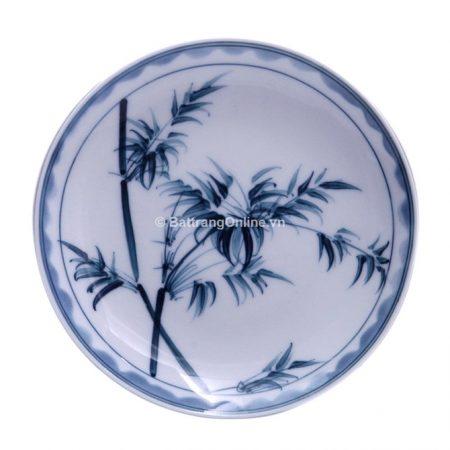 Đĩa đựng đồ ăn gốm sứ bát tràng vẽ Trúc – men chàm – đường kính 14 cm