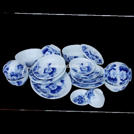 Bộ đồ ăn gốm sứ bát tràng Bát Tràng – Vẽ hoa sen – Men trắng