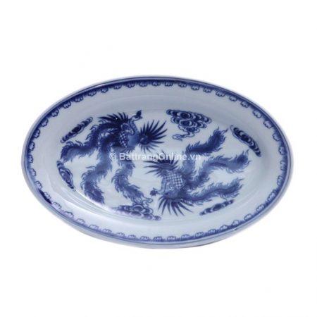Đĩa bầu dục đựng đồ ăn gốm bát tràng vẽ Phượng – men lam – dài 30 cm – rộng 20 cm