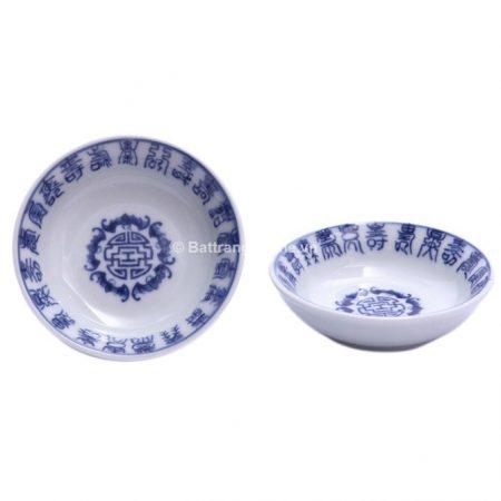 Đĩa đựng gia vị gốm sứ bát tràng 100 chữ Thọ – men lam – cao 2 cm – đường kính 9 cm