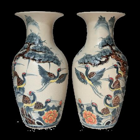 Lộc bình gốm sứ bát tràng vẽ tùng hạc – cao 48cm