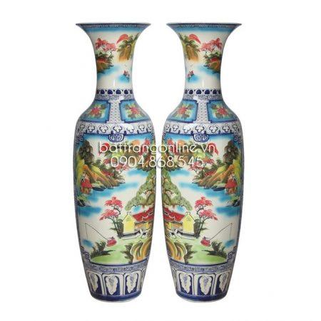 Lộc bình gốm sứ bát tràng- vẽ cảnh sơn thủy – cao 155cm