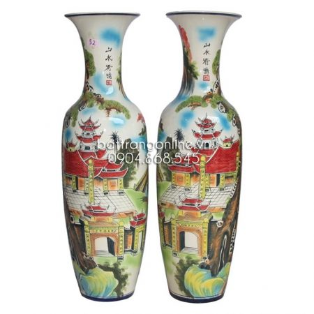 Lộc bình gốm sứ bát tràng vẽ cảnh tùng chùa cao 155cm