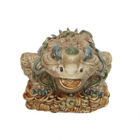 Tượng Cóc thần tài gốm Bát Tràng – men rạn cổ – cao 25cm