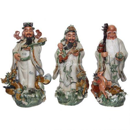 Tượng Phúc Lộc Thọ Bát Tràng – men rạn – cao 70 cm