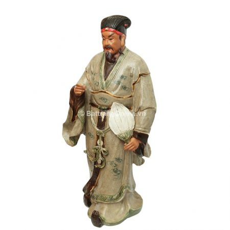 Tượng Khổng Minh gốm Bát Tràng – men rạn – cao 90cm