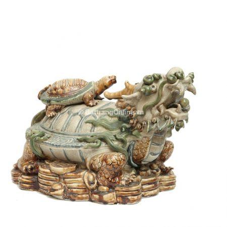 Tượng Long Quy gốm Bát Tràng- Men rạn – Cao 35cm