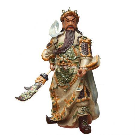 Tượng Quan Công Bát Tràng – Men Rạn – Cao 90cm