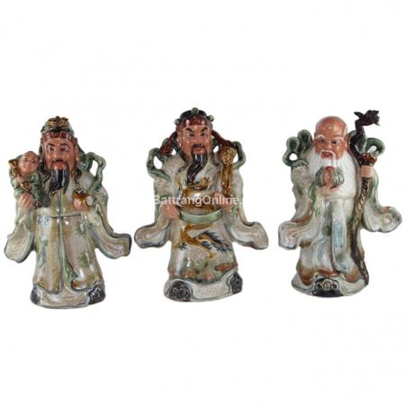 Tượng Phúc Lộc Thọ gốm sứ Bát Tràng – men rạn cổ – cao 32 cm – hàng kỹ