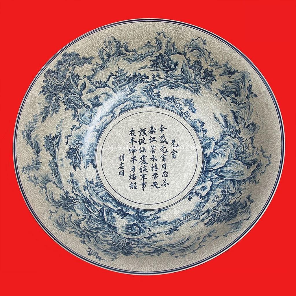 Bát vẽ Sơn Thủy men rạn đường kính 70cm2