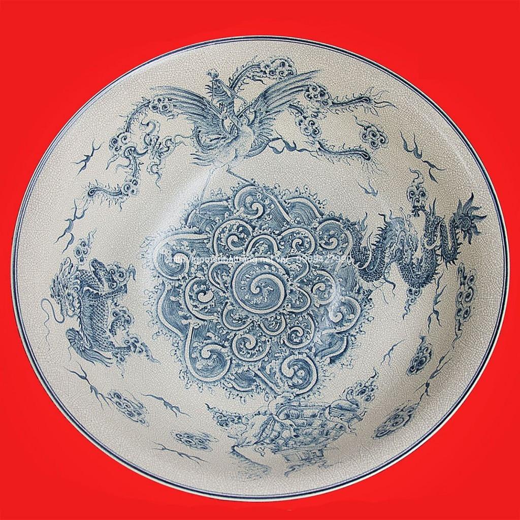 Bát vẽ trong Tứ Linh ngoài men Ceradong đường kính 70cm1