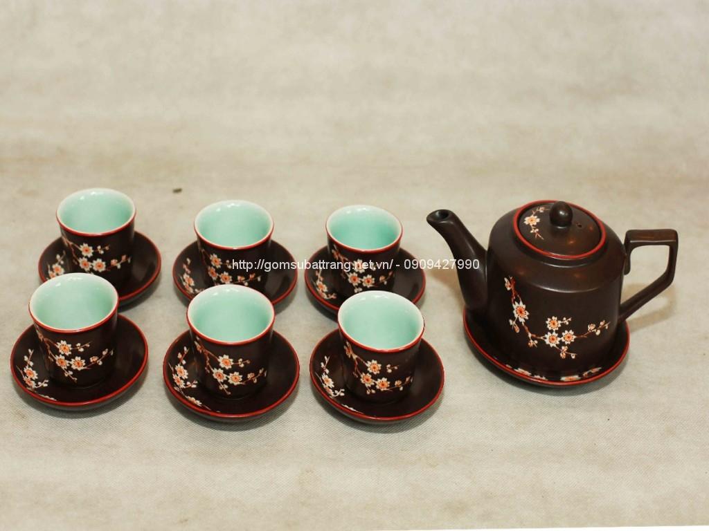 Bộ ấm trà gốm vẽ hoa mai dáng Tích