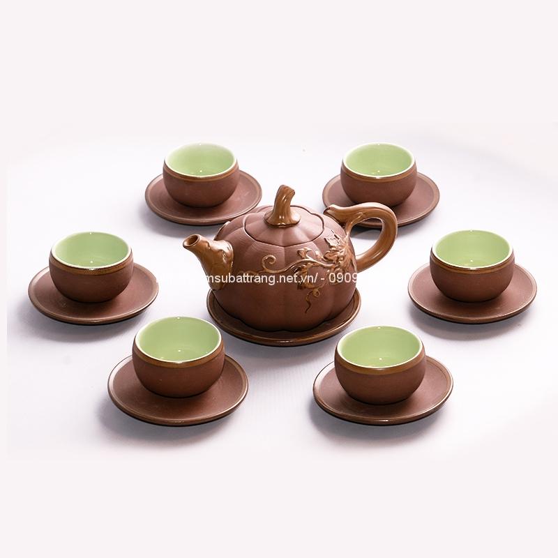 Bộ ấm trà đất gốm bí đỏ